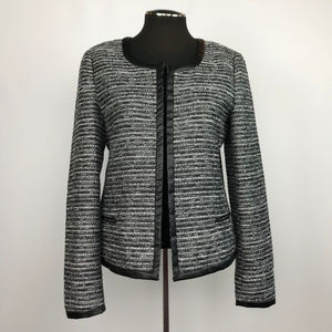 Banana Republic Black and White Tweed Open Blazer